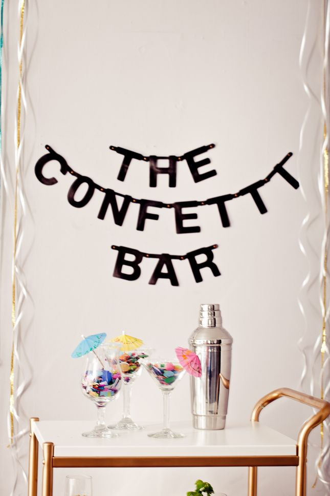 Amazing DIY Confetti Bar Cocktail Idea. Perfect for New years!!