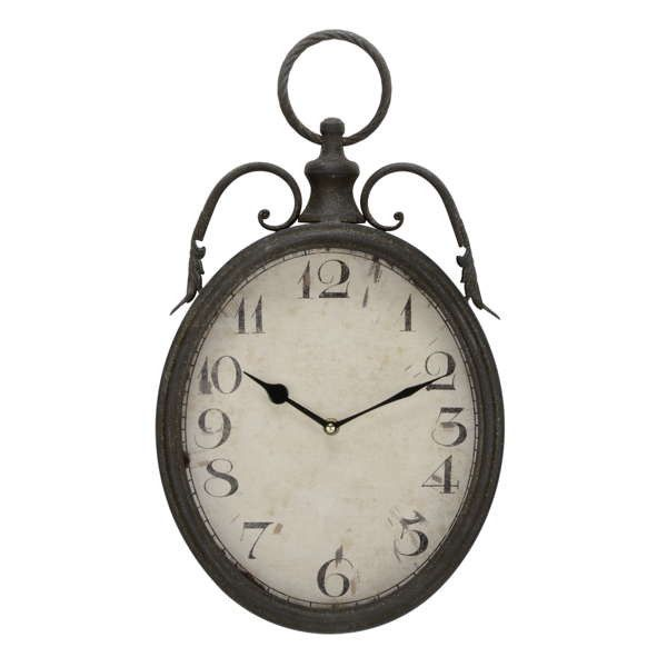 Brown antique metal wall clock