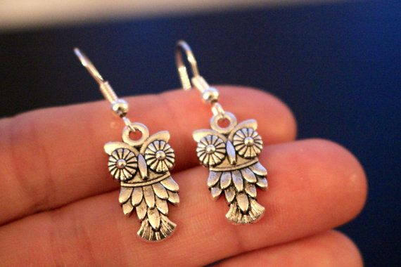 Cute small silver plated owl earrings by Gallagher's Boutique