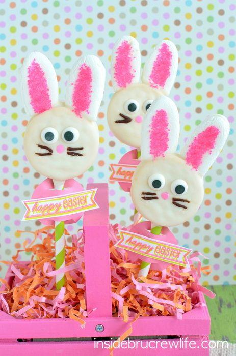 Oreo Bunny Pops - white chocolate covered Oreos with marshmallow bunny ears