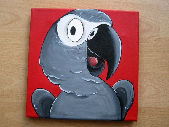 African Grey Parrot Original Cartoon Bird by FreaksOnCanvas, €35.00