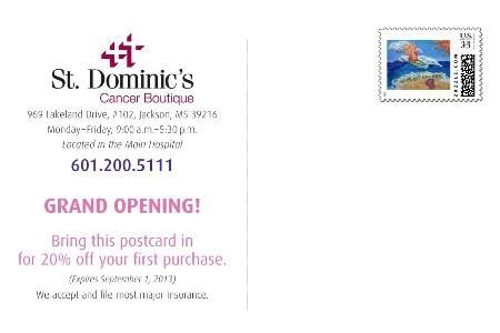 St. Dominic's Hospital Cancer Boutique Announcement Postcard (Back)