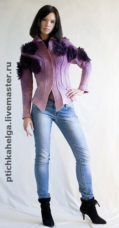 валяный жакет РОЗОВЫЕ РОЗЫ - жакет из войлока #nuno #merinowool and #silk #ручнаяработа #войлок #handmade #felt #felting #wool #clothing #jacket