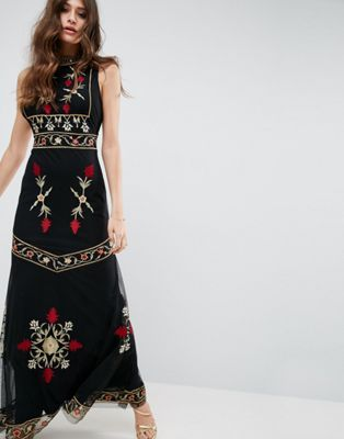 ASOS High Neck Embroidered Cut Out Back Maxi Dress