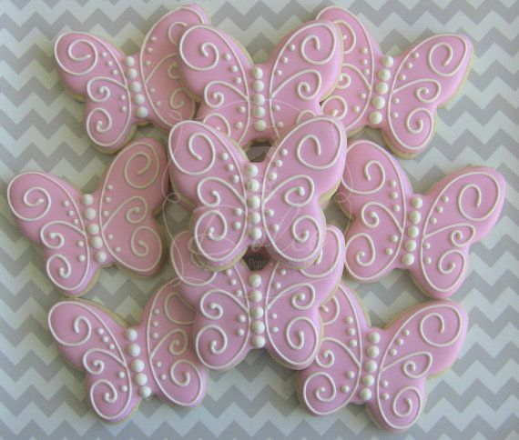 One Dozen 12 Butterfly Custom Decorated by DolceCustomCookies