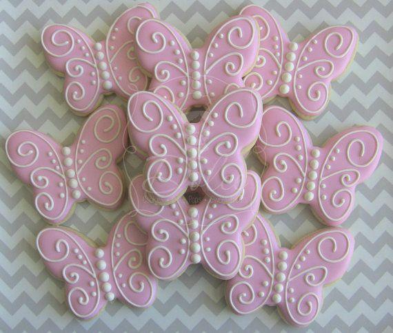 Una docena (12) de la mariposa adornados Sugar Cookies
