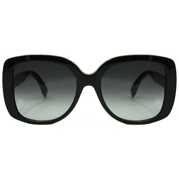 Fendi 0014 Women's Rectangular Sunglasses ($178) ❤ liked on Polyvore featuring accessories, eyewear, sunglasses, rectangular glasses, fendi, fendi glasses, fendi sunglasses and rectangle sunglasses