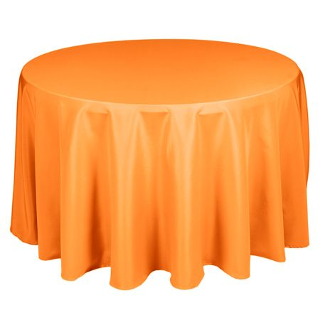 TCPY-90OR 90 Inch Round Polyester Orange Tablecloth