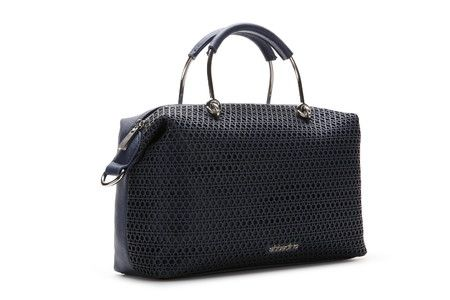 Laser perforated bonded leather bowling bag with geometric shapes. It has two original metallic handles which give it a very cool look. It includes an adjustable shoulder strap and practical interior pockets.  #Abbacino #Summerinthecity #SS15