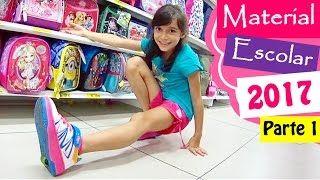 MEU MATERIAL ESCOLAR 2017 ★ Comprando com Tênis de Rodinha - Parte 1: Mochila, Lancheira e Estojo - YouTube