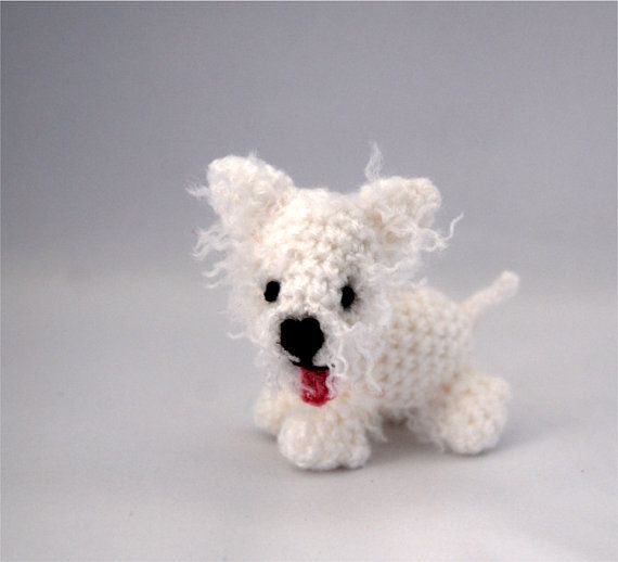 $36.64 west highland WHITE TERRIER, little WESTIE puppy, crochet #terrier dog, tiny amigurumi westie dog, cosset pet, miniature westie #dog, #miniature puppet by crochAndi