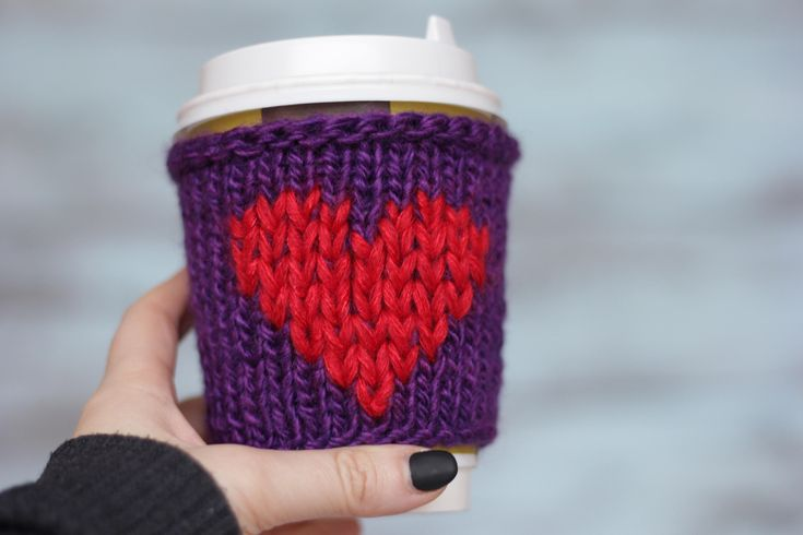 Gift Valentines friend  Crochet cozy gift Valentines day gift for sister Coffee cup sleeve Crochet mug cozy Eco friendly crochet gift heart