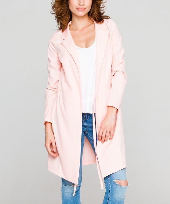 Open Front Jacket In Salmon Pink
