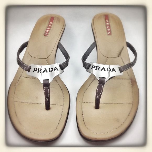 Prada Flip Flops Pair these sexy yet classic brown leather Prada scrappy sandals with a work outfit or with jeans for a night out on the town;) Mint condition besides wear under neath on both kitten heels. Euro size 37.5 - fit like 7.5 perfectly;) Prada Shoes