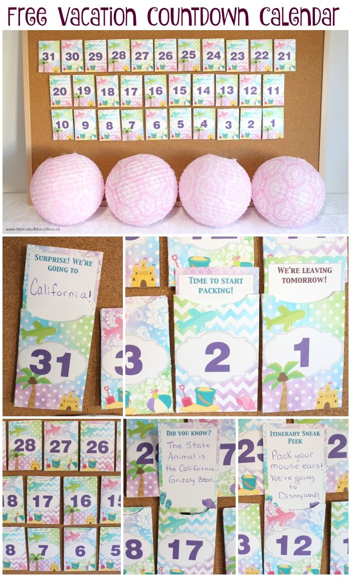 Free Printable Vacation Countdown Calendar - comes with envelopes & note cards to help build excitement for the big day!