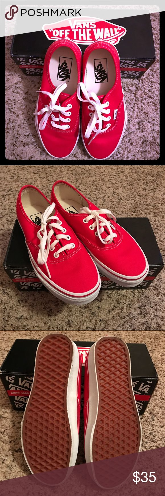 Vans red tennis shoes women's size 6.5 Van tennis shoes in red. Worn about an hour . Excellent to perfect condition. Size men's US size 5, women's size 6.5. Vans Shoes Sneakers