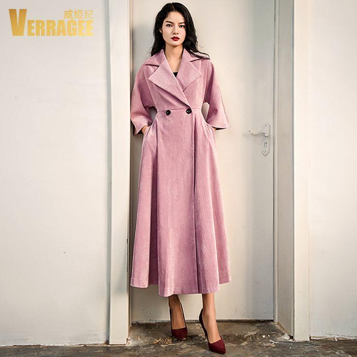 Verragee 2017 новое поступление женские длинное пальто осень Плащ карманов пальтокупить в магазине VERRAGEE Official StoreнаAliExpress