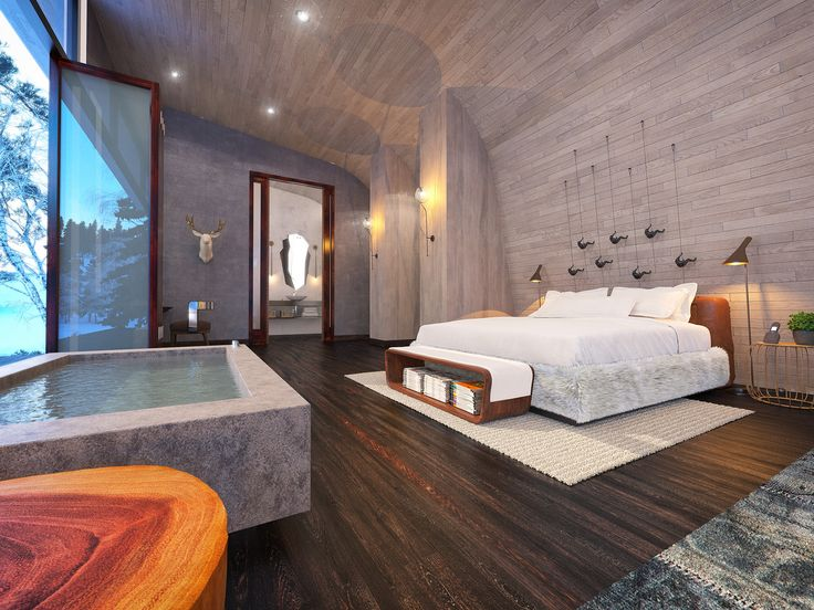 ECO RESORT IN MOUNTAIN ESTATE | hotel interior design, design hospitality, hospitality interior design, USA |#modern#trends2018#bedroom #USA | More: http://brabbucontract.com/inspirations-and-ideas/