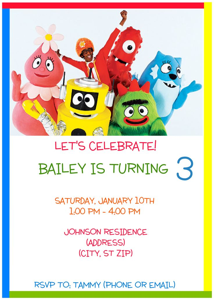 23 best yo gabba gabba party images on pinterest | yo gabba gabba, Birthday invitations