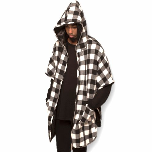 SAVE BIG! Huge discounts on www.nelticreations.com  Short Sleeve Flannel Hoodie Asymmetric - 'Enfant de la Street' (Men)