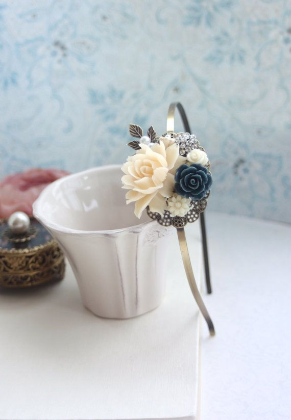 Ivory Rose Navy Blue Rhinestone Leaf Flower Hair Band. by Marolsha