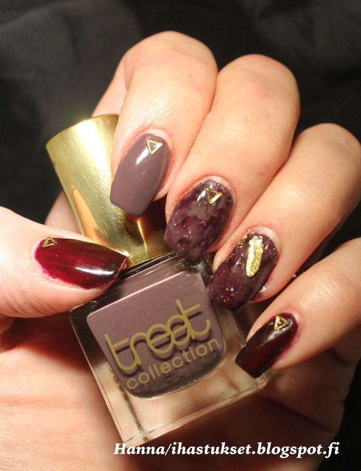 Treat collection nail polishes with some studs and stamp marbeling.