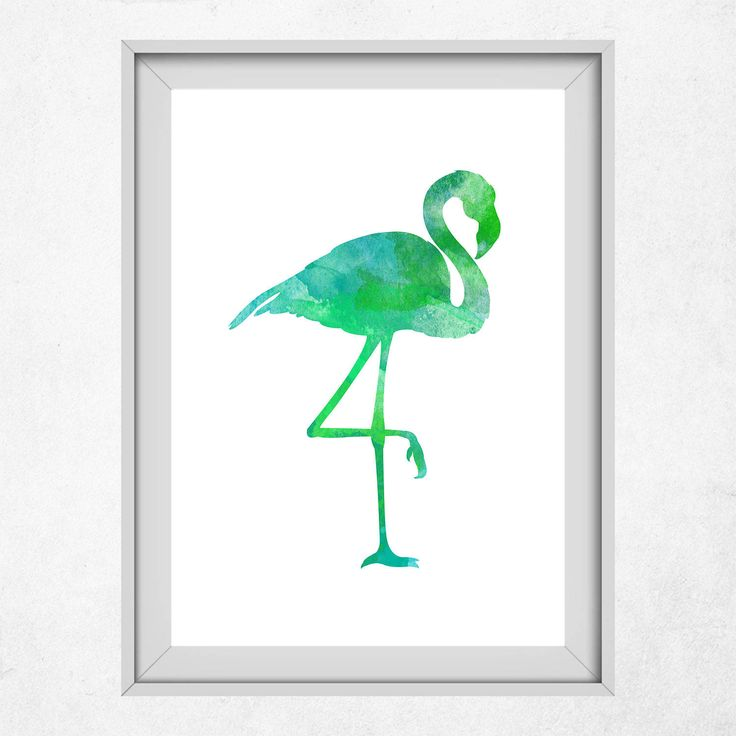 Green Flamingo Print, Flamingo Wall Art, Green Print, Green Flamingo, Green, Nursery Flamingo, Kids Animal Wall Art, Summer Art by DigitalSpot on Etsy