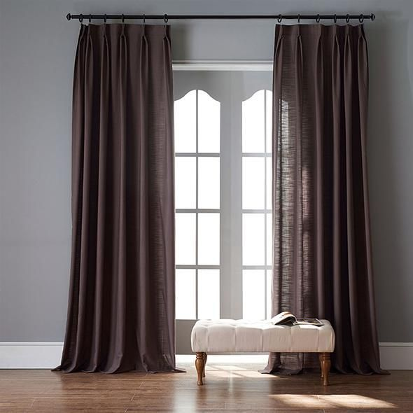Modern Dark Brown Color Linen Solid Sheer Curtain Window Curtains