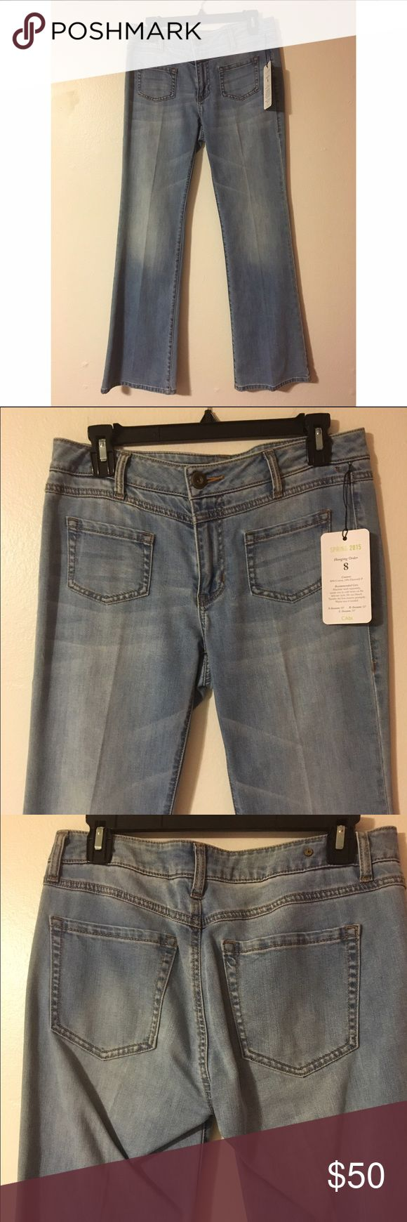 NWT CAbi Malibu Flare Light Wash Jeans Size 6 R NWT CAbi Malibu Flare Light Wash Jeans Size 6 R Retail price: $108 Size: 6 regular 86% cotton 14% elasterell-P Waist: 16 inches Rise: 8.5 inches Inseam: 32 Inches Spring 2015 collection CAbi Jeans Flare & Wide Leg