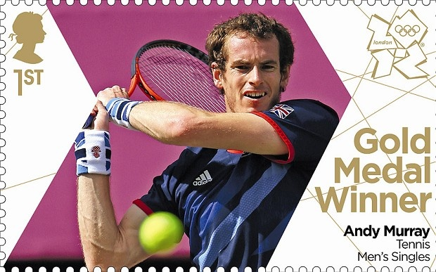 London 2012 Olympic: Royal Mail stamps of the gold medalists - Andy Murray who won tennis gold