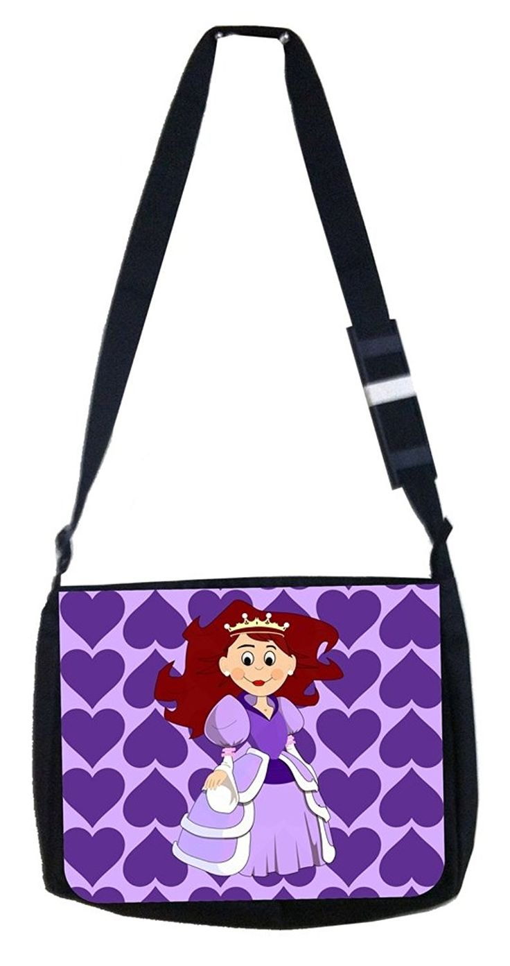 Purple hearts princess Rosie Parker Inc. TM Medium Sized Messenger Bag 11.75' x 15.5' >>> Visit the image link more details. (This is an Amazon Affiliate link and I receive a commission for the sales)