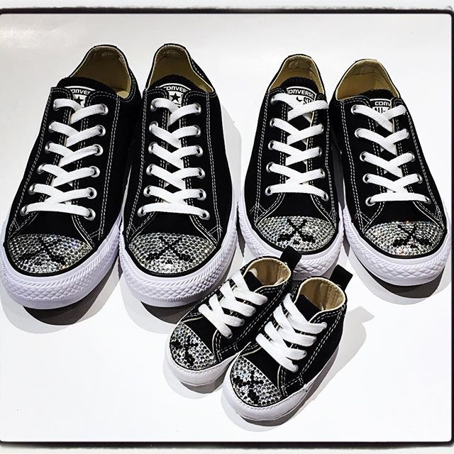 Blinged Hockey Converse shoes for the whole family! #mom #daughter and #baby ! #hockey #trickedkicks