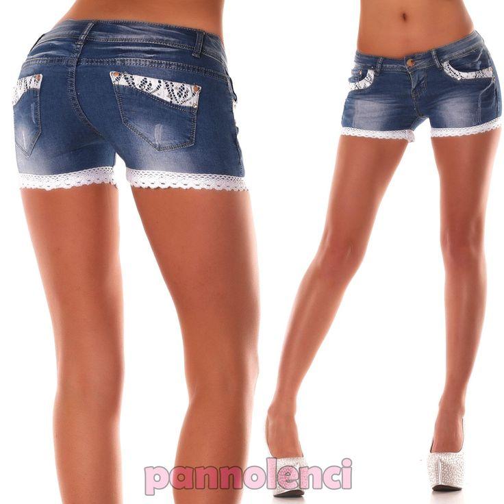 Pantaloncini-donna-shorts-JEANS-pizzo-strass-skinny-aderenti-hot-pants-CZP004
