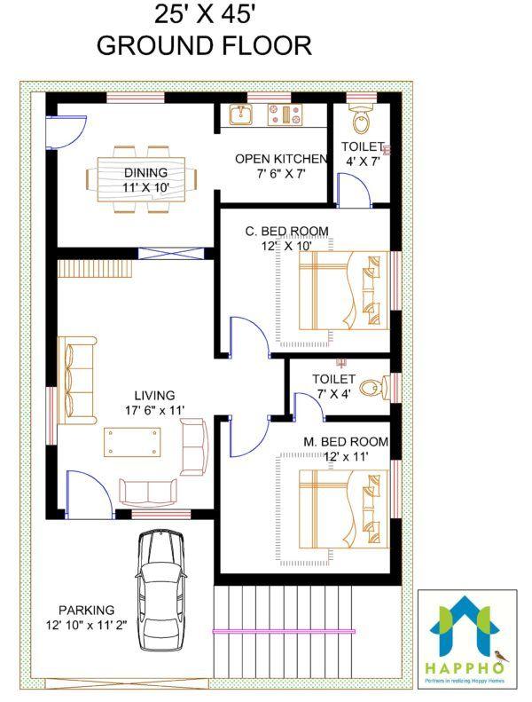 2 Bhk Floor Plan For 1125 Sqft Plot Area 125 Sq Yards 20x40 House Plans 20x30 House Plans Indian House Plans
