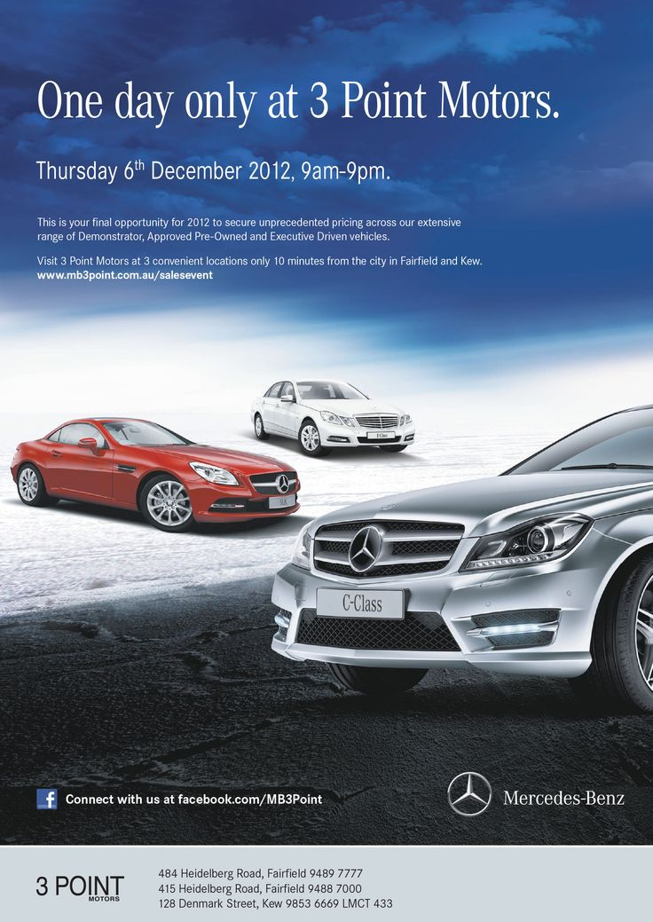 3 Point Motors, Mercedes-Benz, Press advert design – Advertising Associates – advertisingassociates.com.au