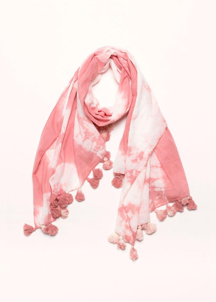 Tie Dye Tassel Scarf - Pink ....................... #lookbym #scarf #longscarf #scarves #tassles #tassel #tiedye #blue #colorful #spring #ootd #musthave #fashion #womensfashion #womensaccessories #springaccessories #colorful #bright #look