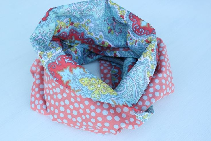 Loop Scarf light blue orange  from From Lucky Lonny With Love by DaWanda.com
