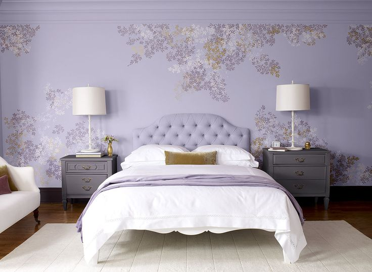 Purple Bedroom Ideas - Fresh, Floral Purple Bedroom - Paint Color Schemes