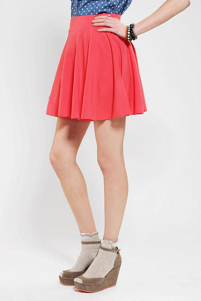 Pins & Needles Urban Outfitters Womens Coral Jersey Knit Skirt Large #UrbanOutfitters #ALine