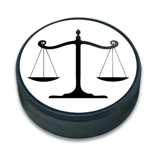 Balanced Scales Of Justice Symbol Legal Lawyer B W Ice Hockey Puck