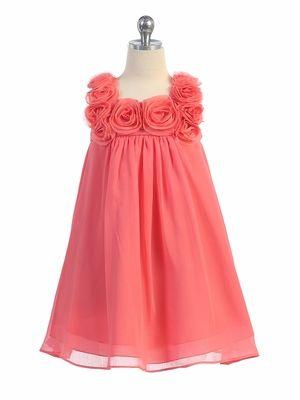 Coral Yoryu Chiffon Dress w/ Rose Buds. Flowergirl dress?