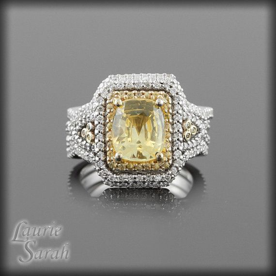 Yellow Sapphire Ring Cushion Cut Yellow by LaurieSarahDesigns