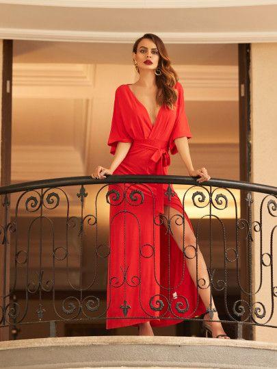 Red V Neck Tie Waist Split Maxi Dress -SheIn(Sheinside)