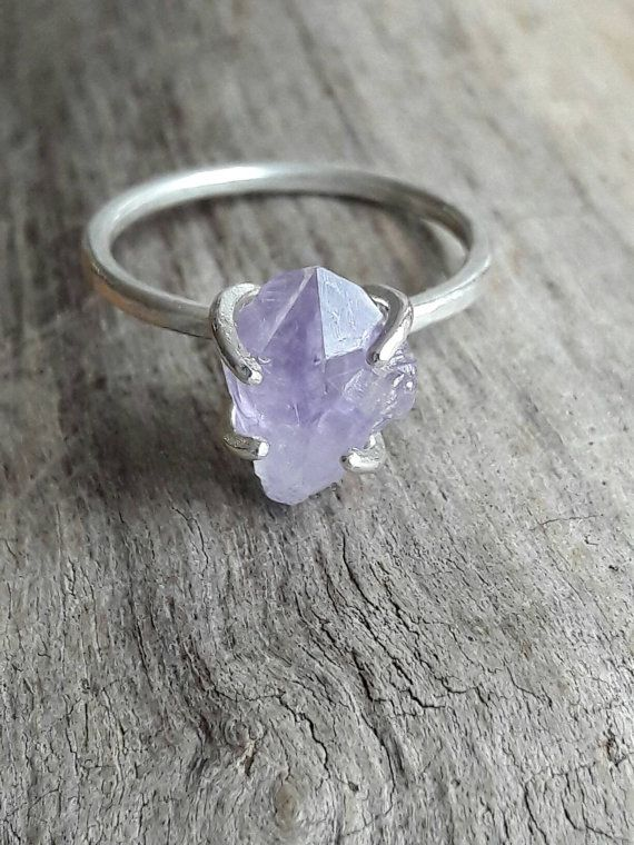 Raw Amethyst Crystal and Sterling Silver Ring  by GaiasCandy