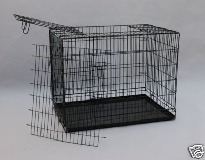 "$26.95-$84.99 BestPet Black 30"" Three-Door Suitcase Style Folding Metal Dog Crate with Metal Pan - 30""(l) x 21""(w) x 24""(h) - This is one of the best values in wire crates today. Compare the size of this crate to most 30 inch crates and you will see that it is bigger. This crate is 24 inches tall and 21 inches wide. This crate has three doors to allow easy access to your pet without them attempti ..."