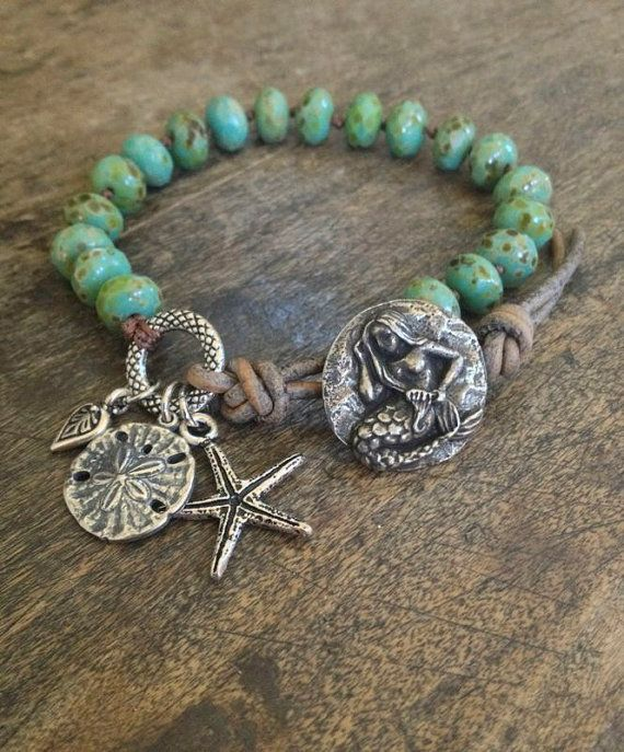 Mermaid Knotted Leather Wrap Bracelet, Turquoise Beach Endless Summer by Two Silver Sisters