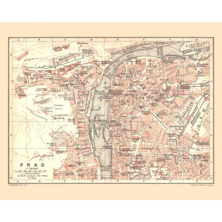 Prague: vintage map - handmade paper print. Elegant antique map reproduction,