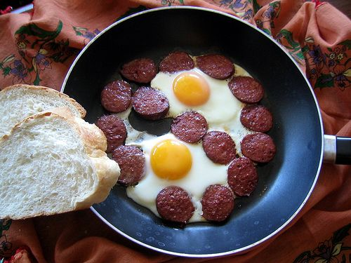 Turkish sucuk and eggs  (spicy beef sausage with eggs).  Faith makes this for us and we love it!