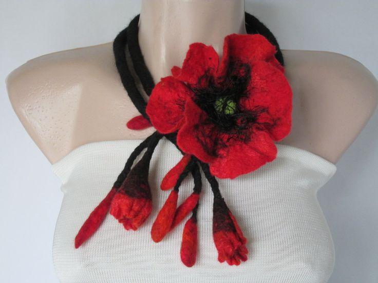 Belt, Flower necklace, Flower belt, Multifunctional accessory,Wearable art accessory, Art to wear,Flower tie,Felt lariat by…