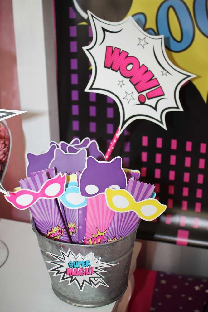 Fun photo props at a superhero girl birthday party! See more party ideas at CatchMyParty.com!